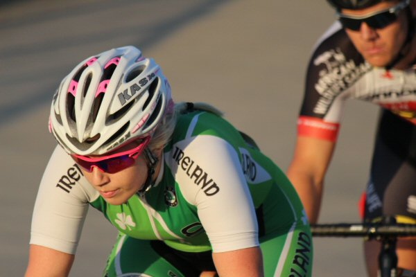McCurley on the front during the first A grade race of the evening